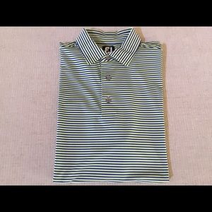 Footjoy- Neon green/blue golf large shirt